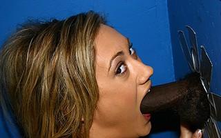 Hot Blond sucks off black dick in gloryhole