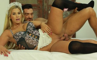 Gorgeous blonde rides her sweet pussy on hard dick