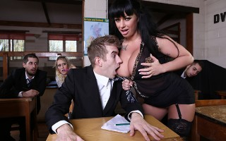 Kerry Louise is a busty slut who loves to go to swingers clubs and get dominated by all of the big dicked studs she can find, and her roomate is a regular old boring substitute teacher. When her friend gets double booked for two different teaching jobs at