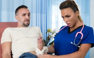 """Big boobed doctor Aubrey Black helps patient with """"backed-up"""" problem"""