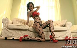 Stunning Audrey in sexy red high heel strip dance scene