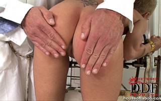 Short-haired blonde girl C J gets spanked by deviant doctor