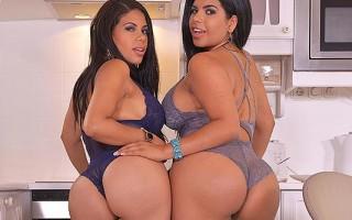 Curvy latinas Kesha Ortega and Sheila Ortega ice-cream licking and sucking