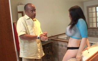 2 old guys get chick with huge tits to strip for them