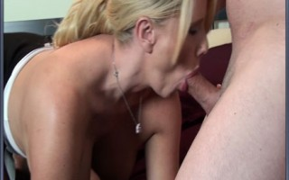 Blonde MILF with big tits plays with new boytoy and sucks his hard cock.