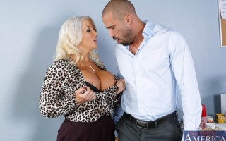 Alura Jenson is a hot busty blonde sexuality teacher. Karlo seeks her advice since sex is her expertise. He hasn't been able to perform in bed lately. Alura can definitely help with that. She believes in the more hands on approach to teaching and boy