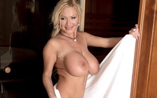 Busty MILF Sharon Pink takes two cocks in the sauna