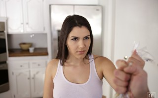 Busty babe Valentina Nappi wanders in a thong and t-shirt as she scours the kitchen for something to eat. Bruce Venture arrives just in time for Valentina to confront him about some rotten food, but he manages to distract her with the promise of something