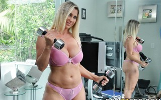 Devon has invited us to see her house, a beautiful playground for sex lovers. She shows us her new add on to it, her workout room where she keeps that hot body of hers tight. Then, the main attraction, her bedroom where she expends most of her time fuckin