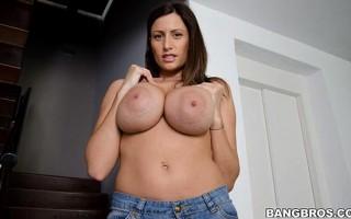 Sensual Jane amazing big natural tits while sucking dick