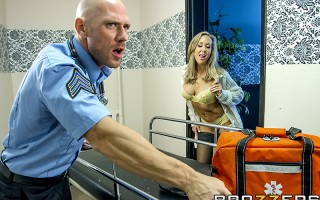 When one of her neighbors calls an ambulance one day, horny MILF Brandi Love catches a glimpse of a sexy EMT, and quickly hatches a plan to get her hands on his fat cock. First she calls 911, then she lies on her couch and waits for Johnny Sins and his bi