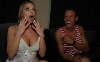 Busty stepmom Britney Amber gets horny in a stormy night