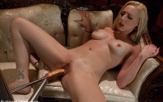 Hot blond debut with machines.She squirts, cums repeatedly without a vibrator, takes nice size cock and has genuine, sexy orgasms from robot fucking.