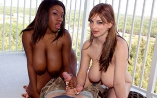 Busty black girl Janet Jade and Christy Marks fucking a lucky man POV style