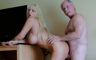 Blonde bombshell with big titties gets banged doggy style by member of her site.