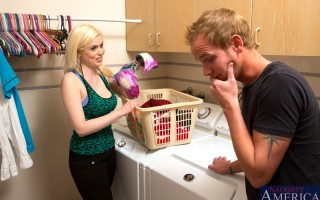 Busty blonde Kristy Snow has hot sex in the laundry room when she sees guy peeking at her bras.